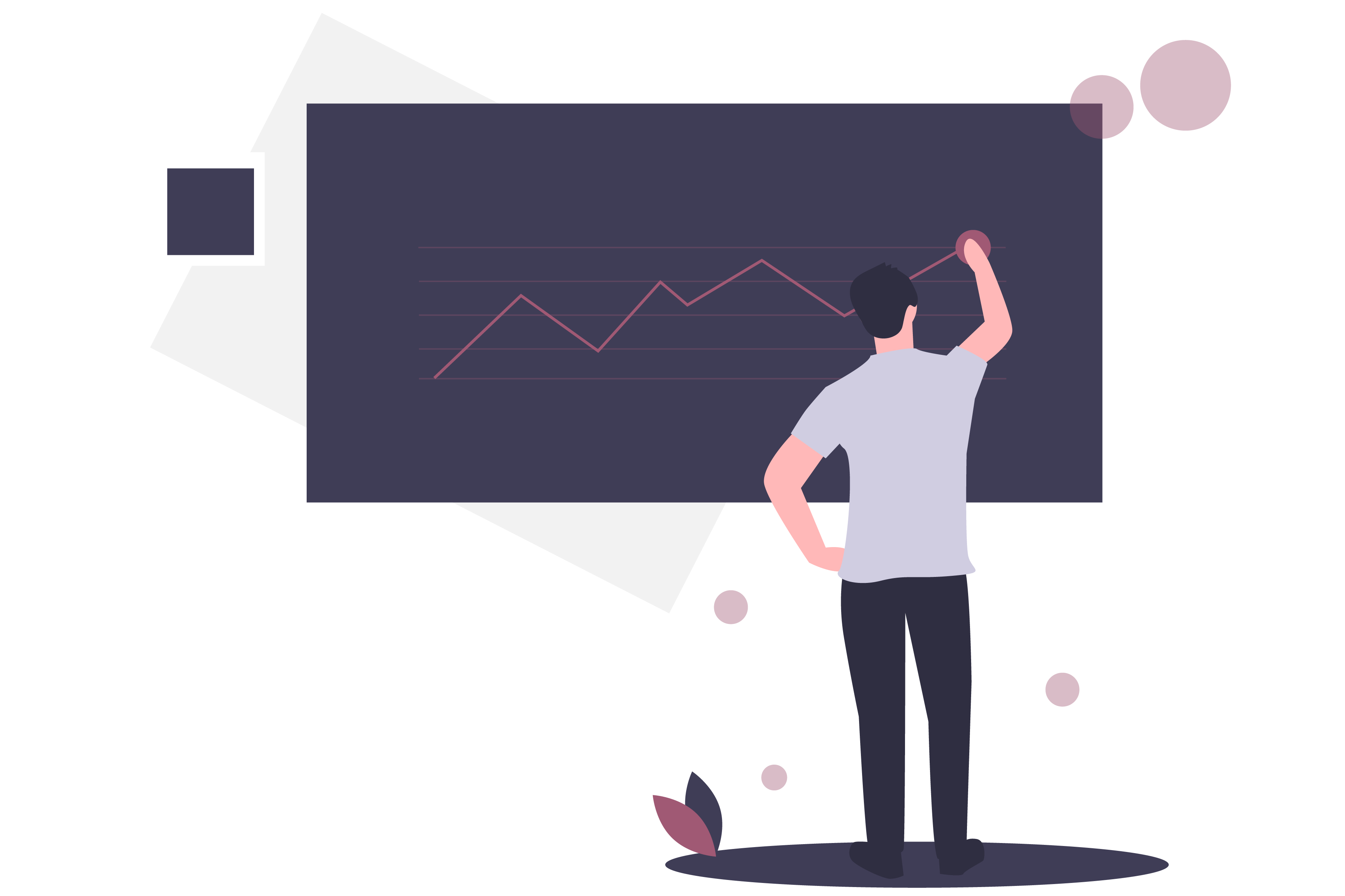 man tracking progress illustration