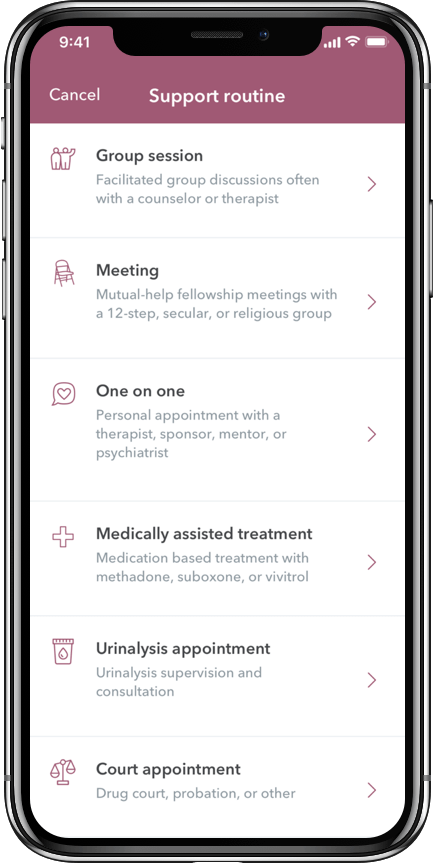 WEconnect app support routine types, group session, meeting, one on one, medically assisted treatment, urinalysis appointment, court appintment