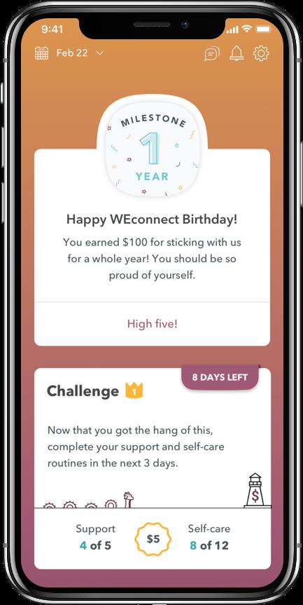 WEconnect 1 year milestone screenshot