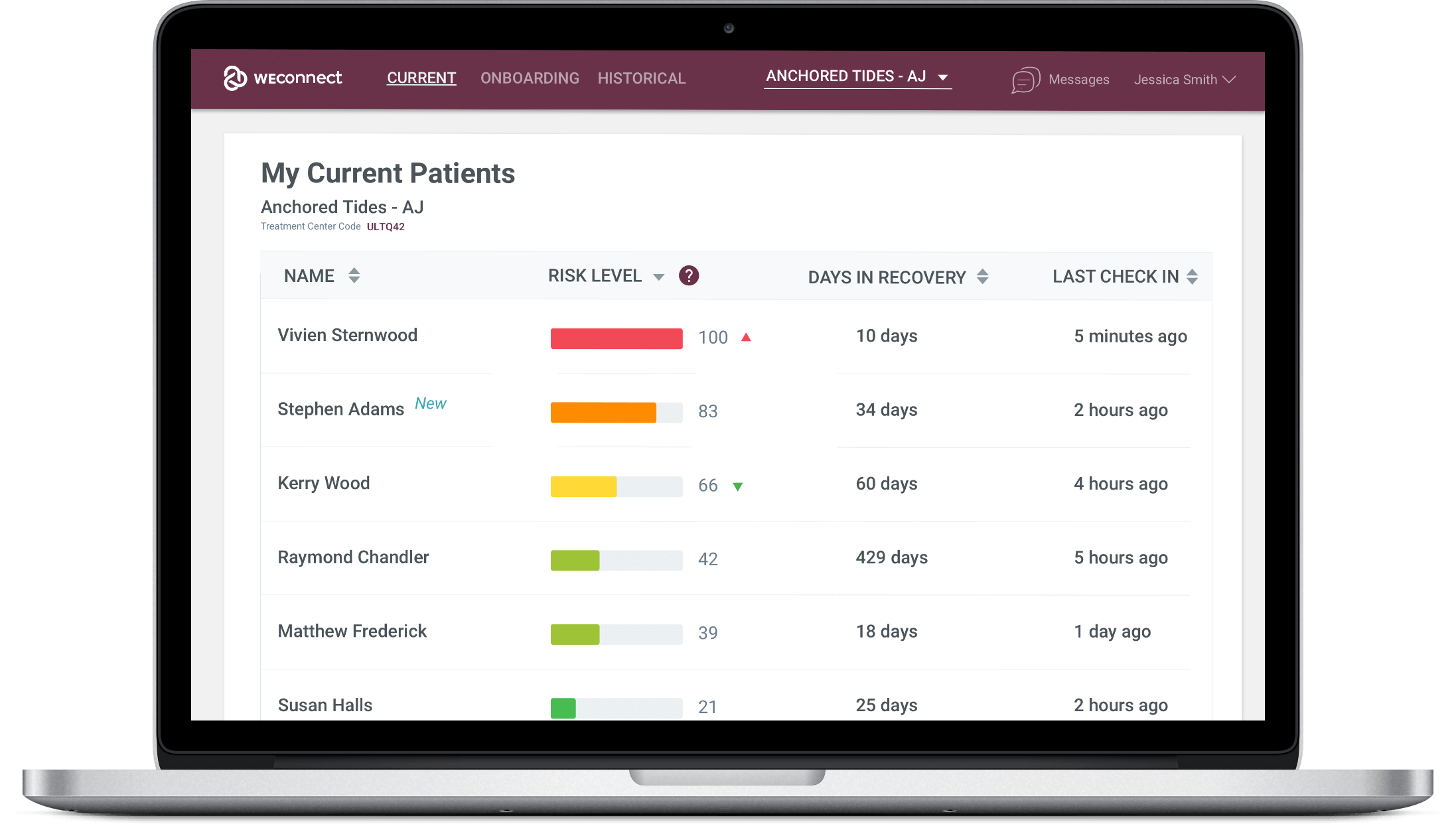 WEconnect data dashboard, overview of patients sorted by risk level