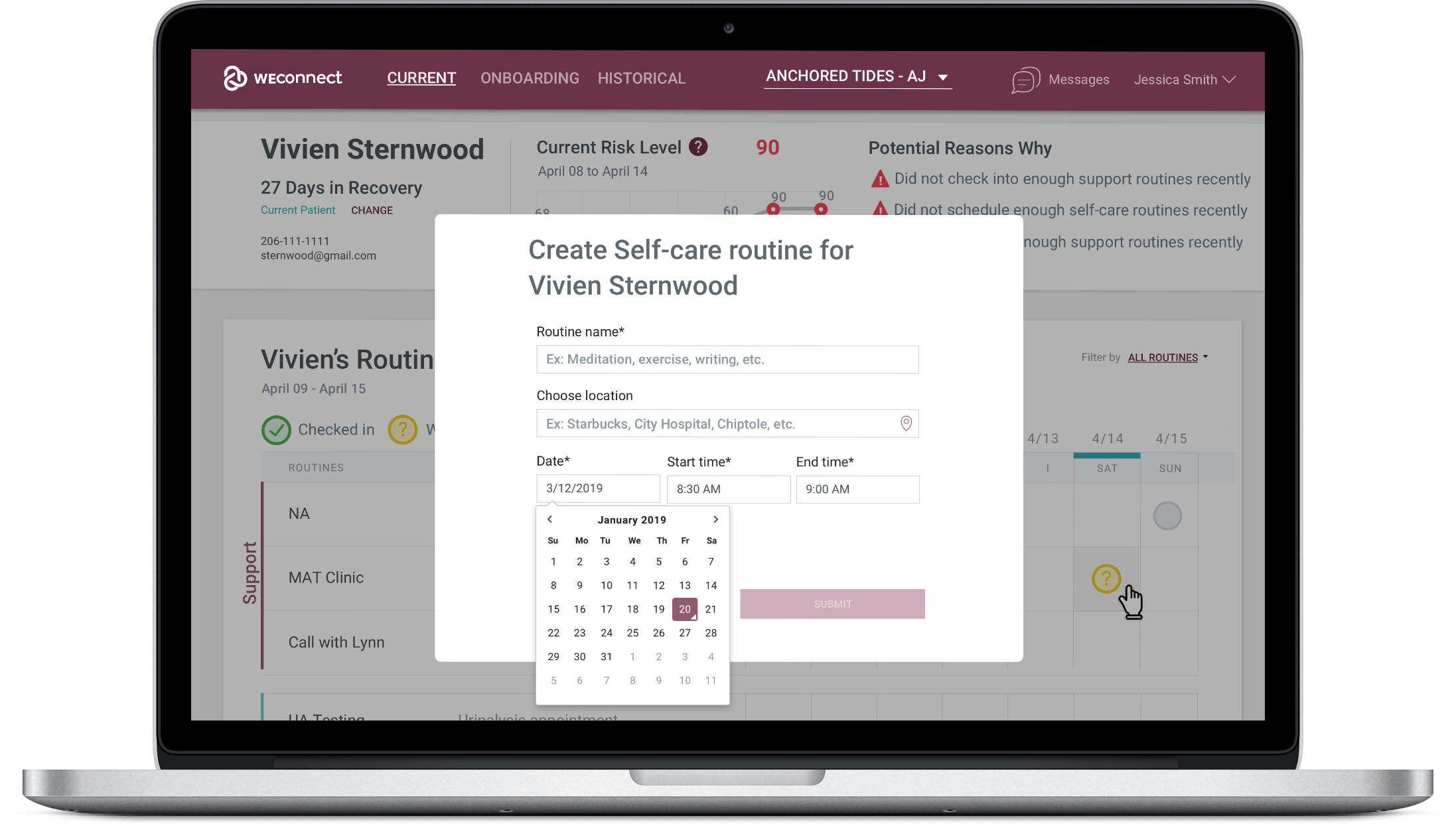 WEconnect data dashboard, create routine for patient