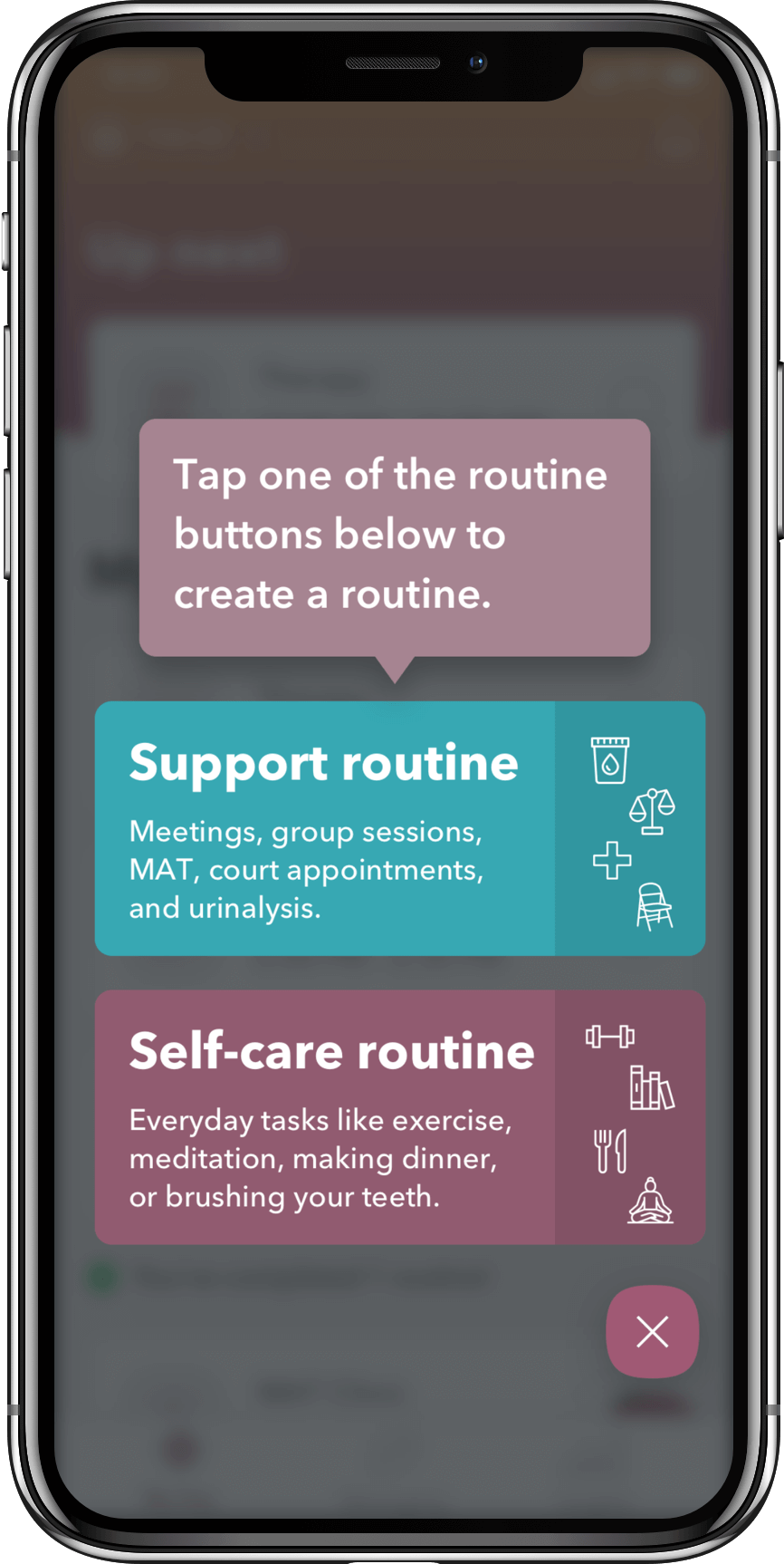 WEconnect app, create a support or self-care routine