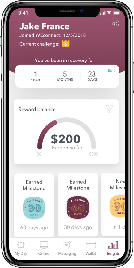 WEconnect app dashboard