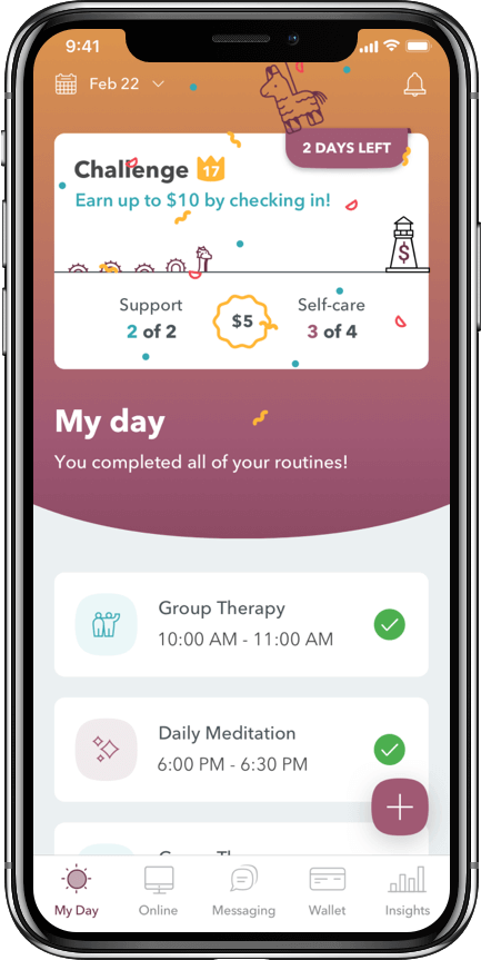 WEconnect app, you completed all of your routines celebration