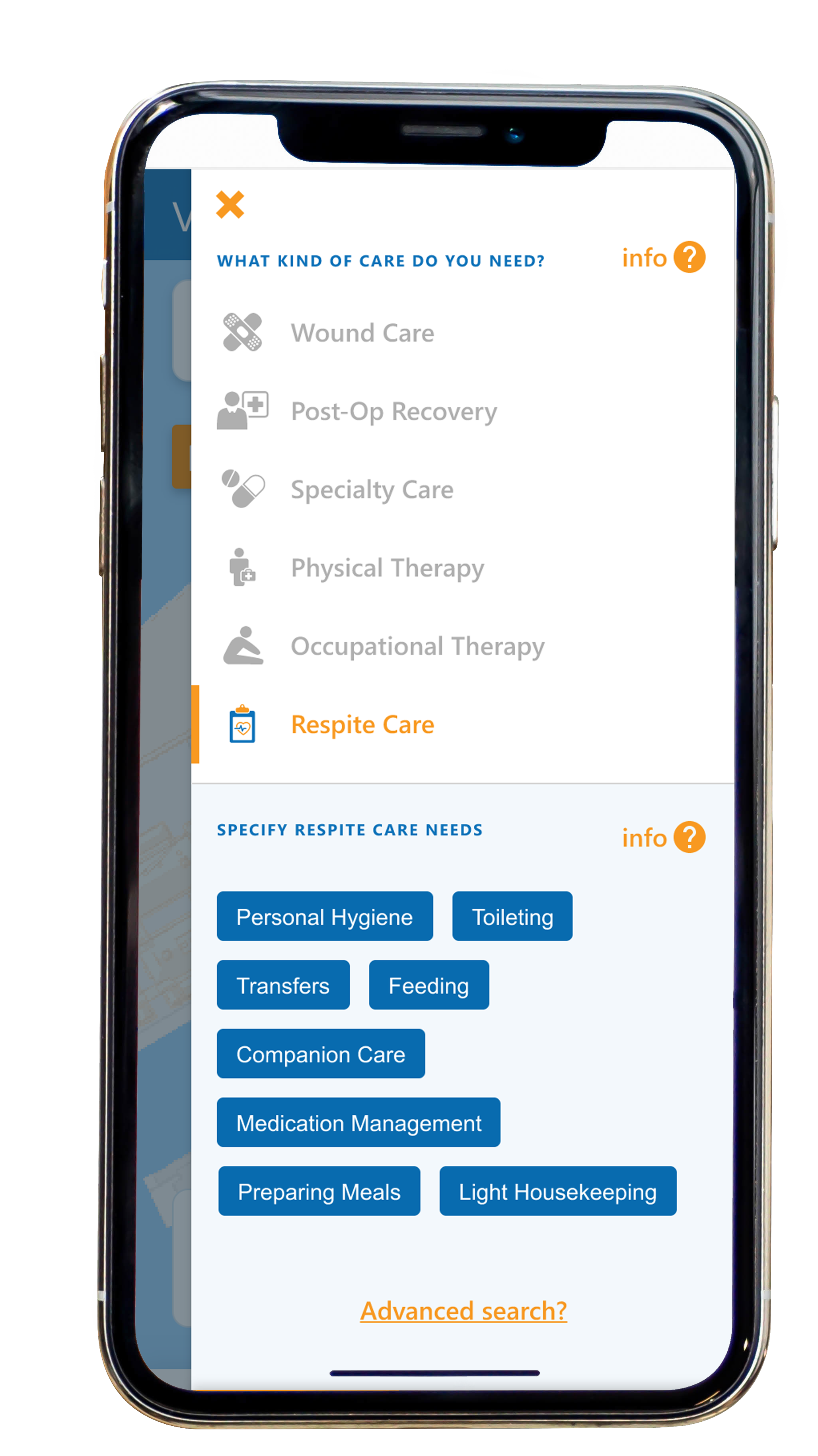 Easy to use in app service selection screen for Vencer Health app.