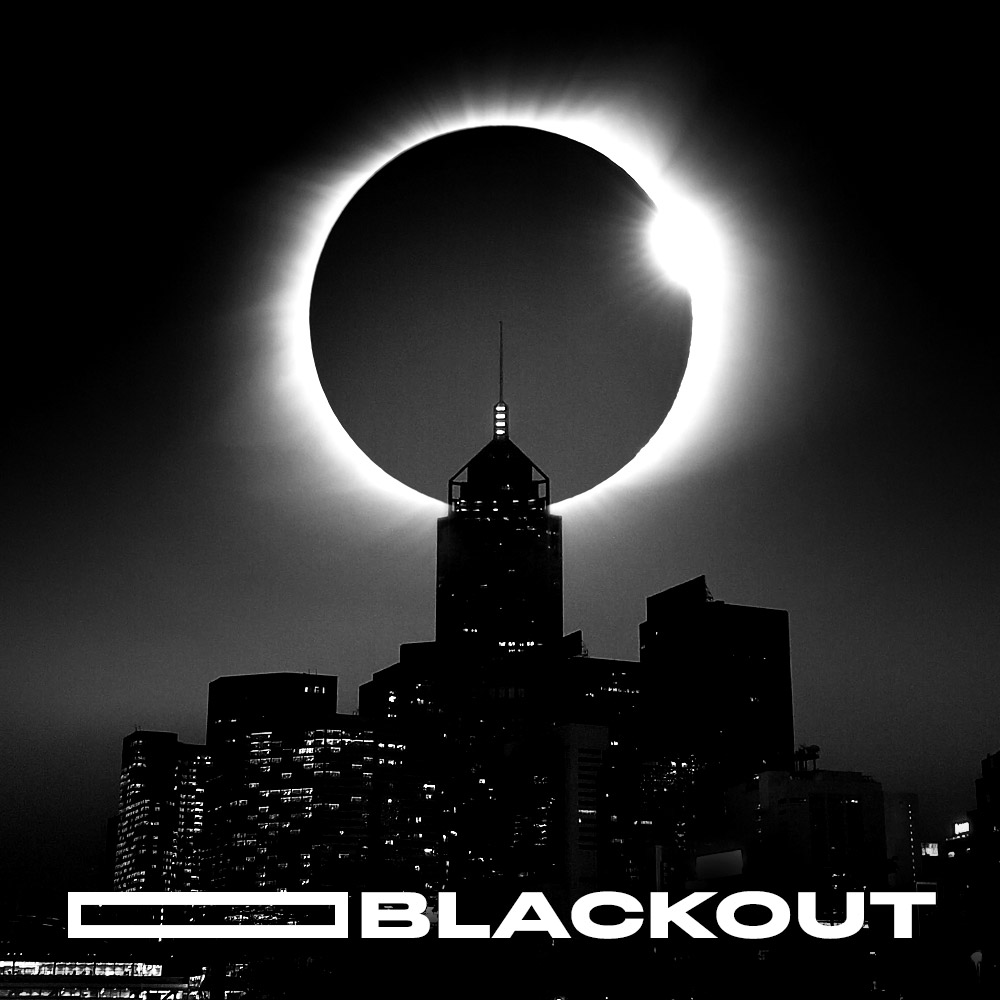 blackout in central hong kong with eclipse