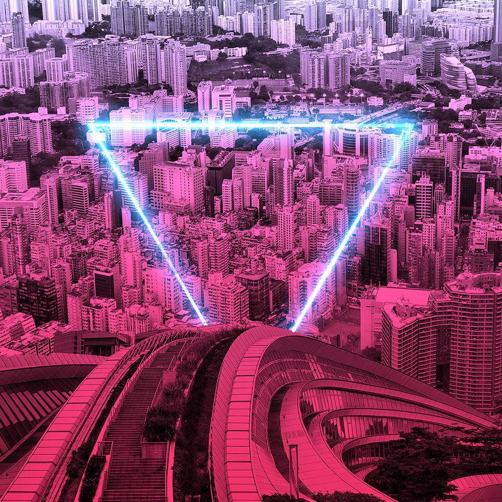 neon triangle with views of hong kong