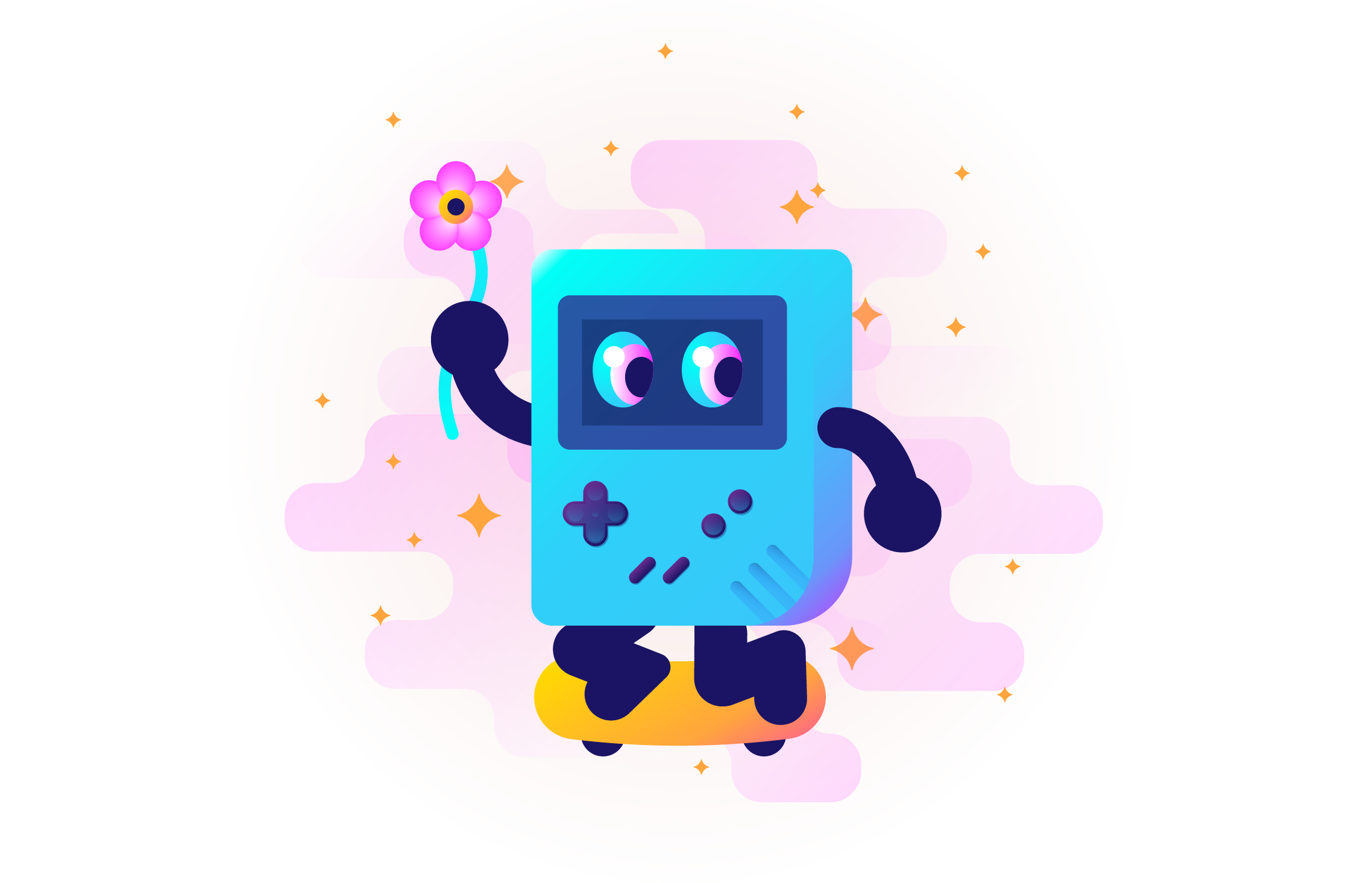gameboy riding a skateboard and holding a flower