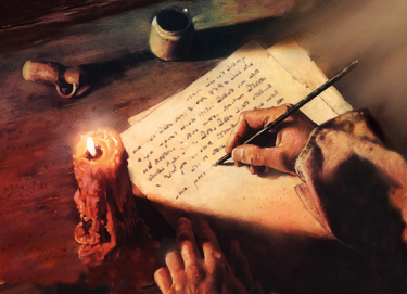 scribe-hand-written-page-painting