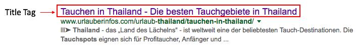 Title Tag in Google Suchergebnissen