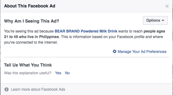 Why am I seeing this - Facebook Targeting