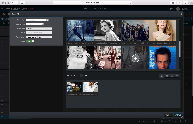 Design Studio Data Stream dialog.