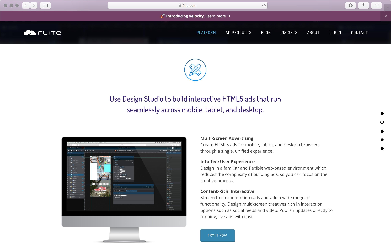 Flite Design Studio page