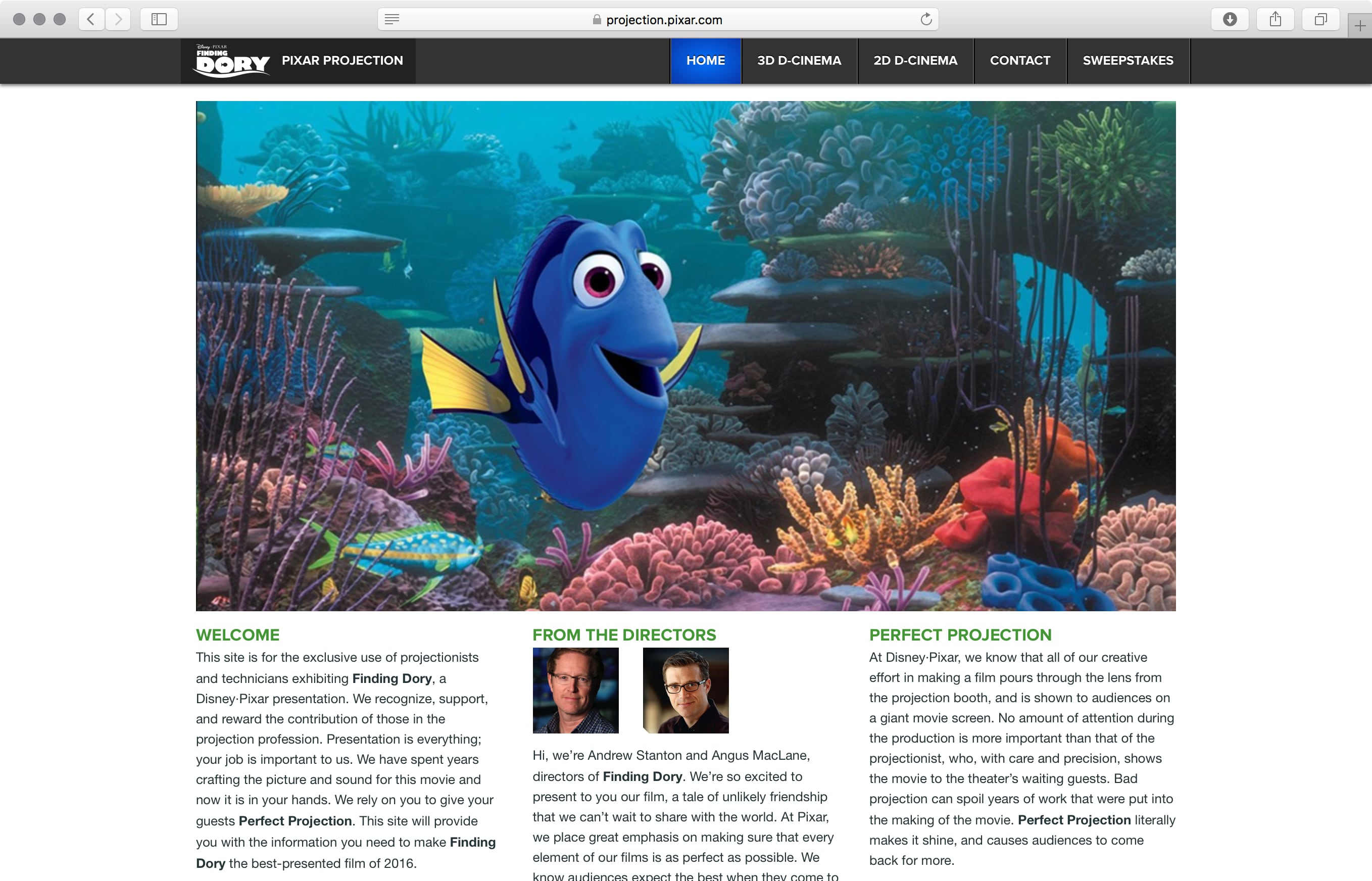 Pixar Projection site home page
