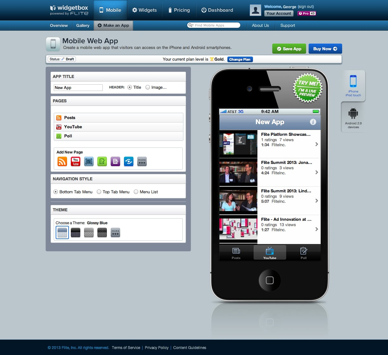 Widgetbox Mobile app editor