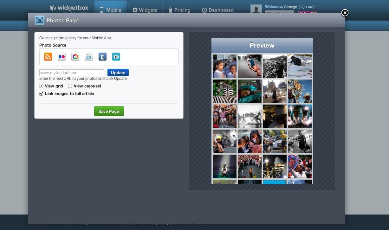 Widgetbox Mobile source editor