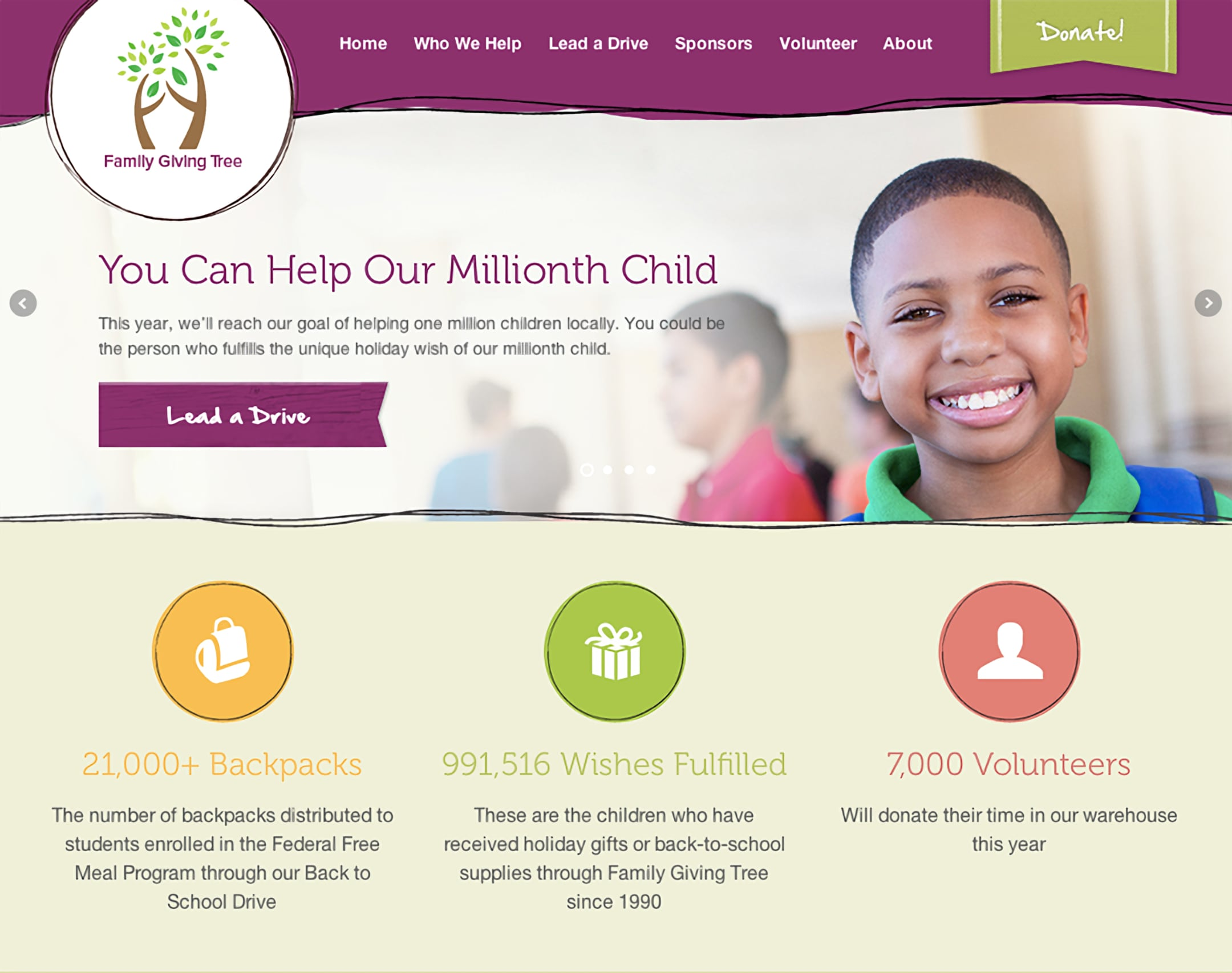 Family Giving Tree redesigned home page