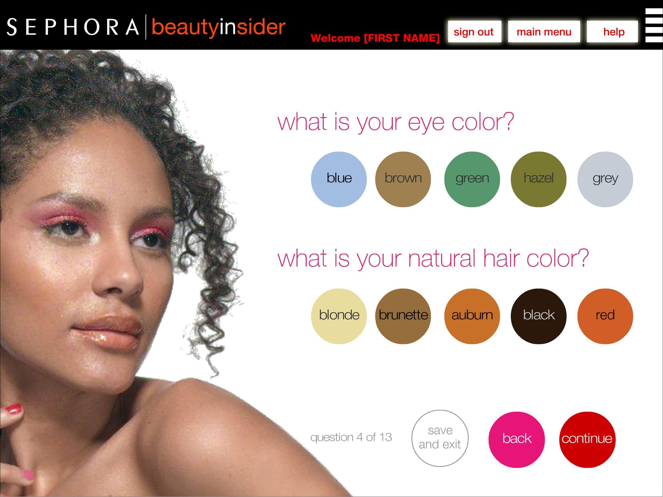 Sephora BI eye and hair color selector