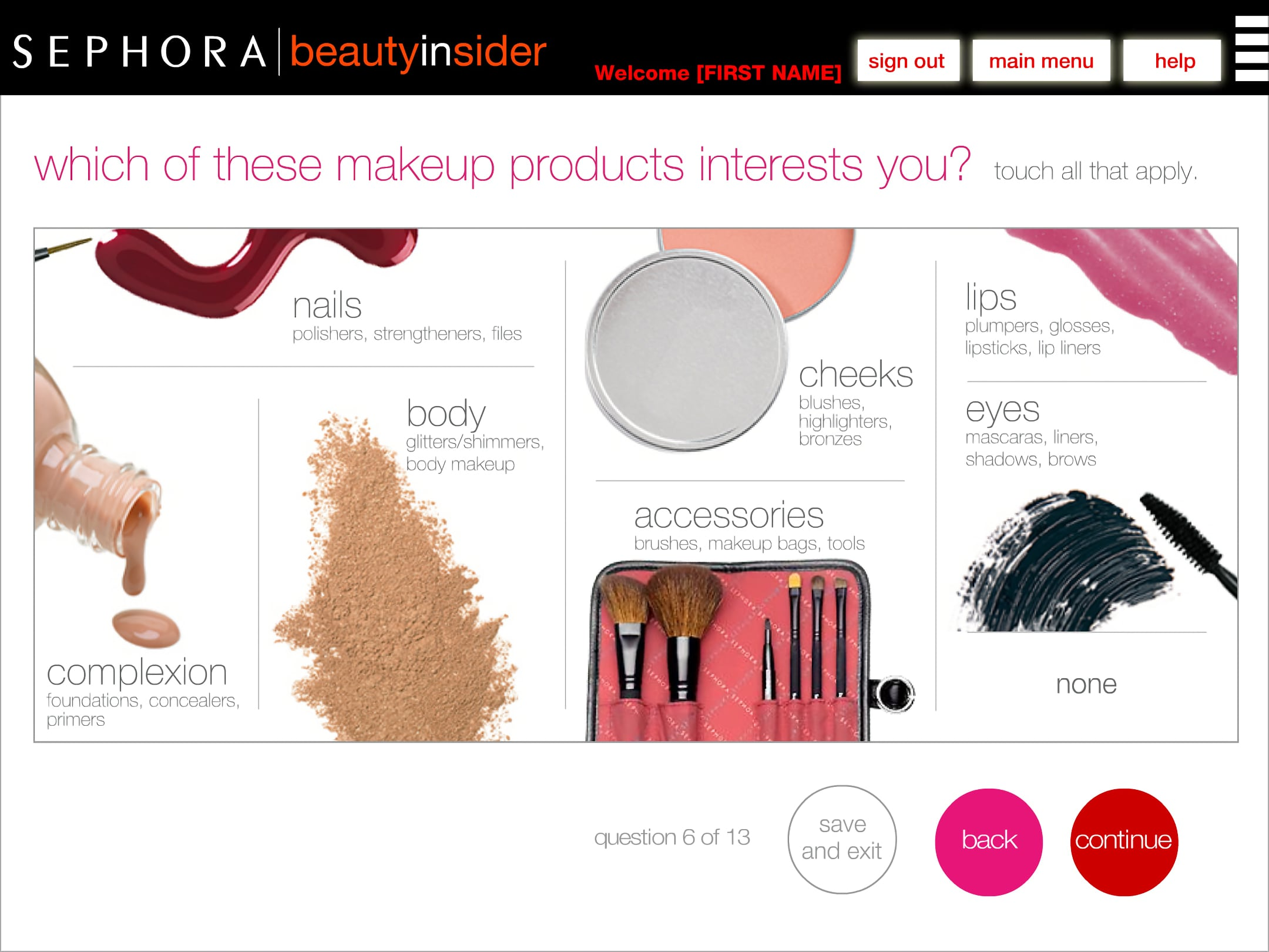 Sephora BI makeup products selector