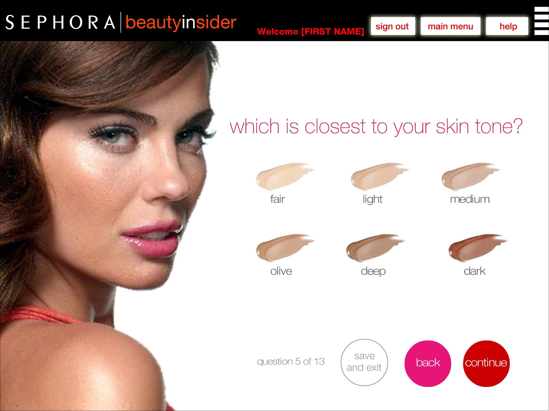 Sephora BI skin tone chooser