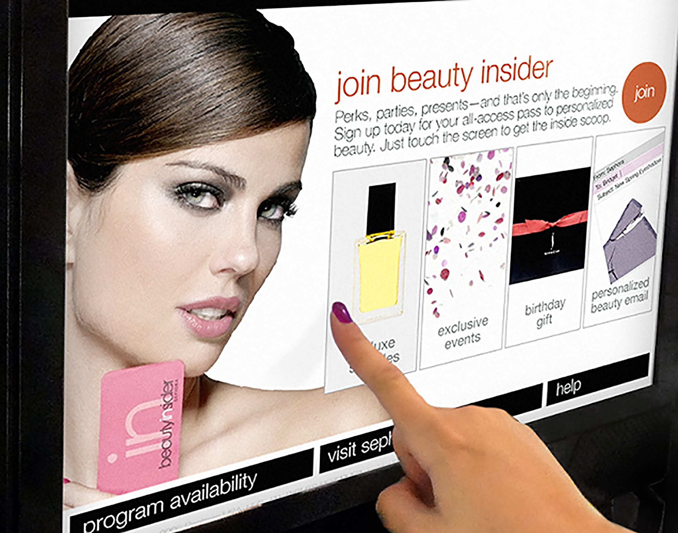 Sephora BI kiosk screen