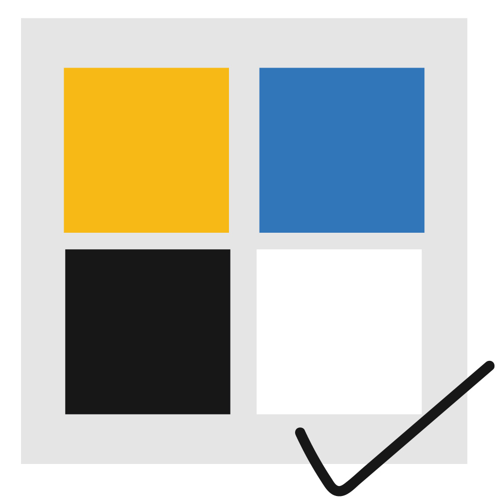 A grid of boxes, yellow, blue, black, and white, are in a grid and imply cohesion in a color scheme as they go well together.
