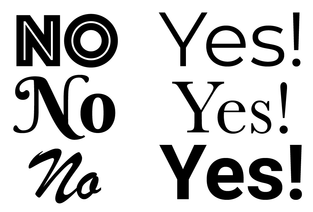 "On a left column, three exotic texts are displayed ex.laiming ""No, No, No."" On the right column, three more simple fonts are discplayed, reading ""Yes! Yes! Yes!"""