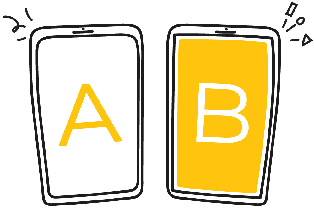 "A phone on the left has ""A"" written on the screen. The phone on the right has ""B"" written on the screen."