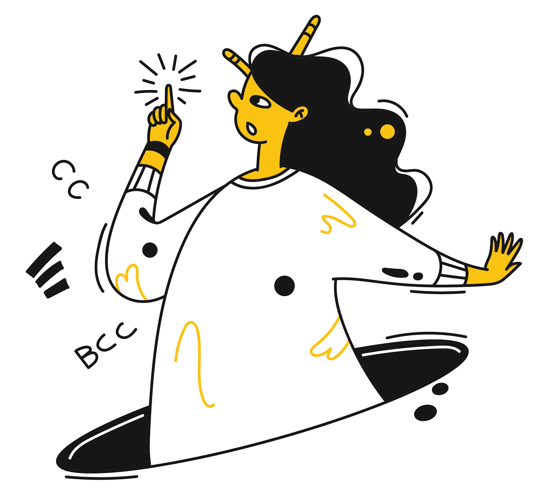 A woman points to upward with her finger implying that she has an idea.