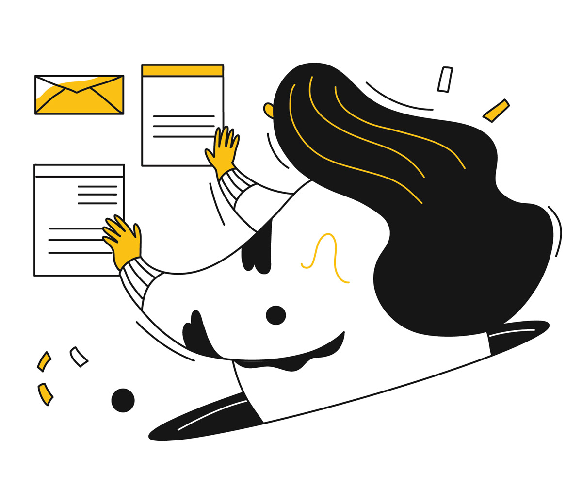 A woman organizes an envelope, web page, heading, and newsletter with ease.