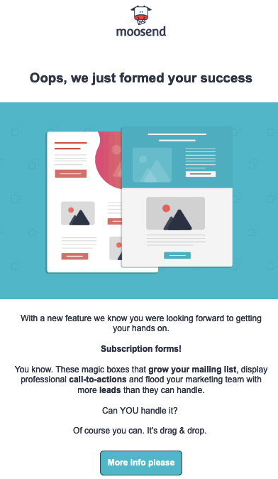 Simple, colorful email template from moosend