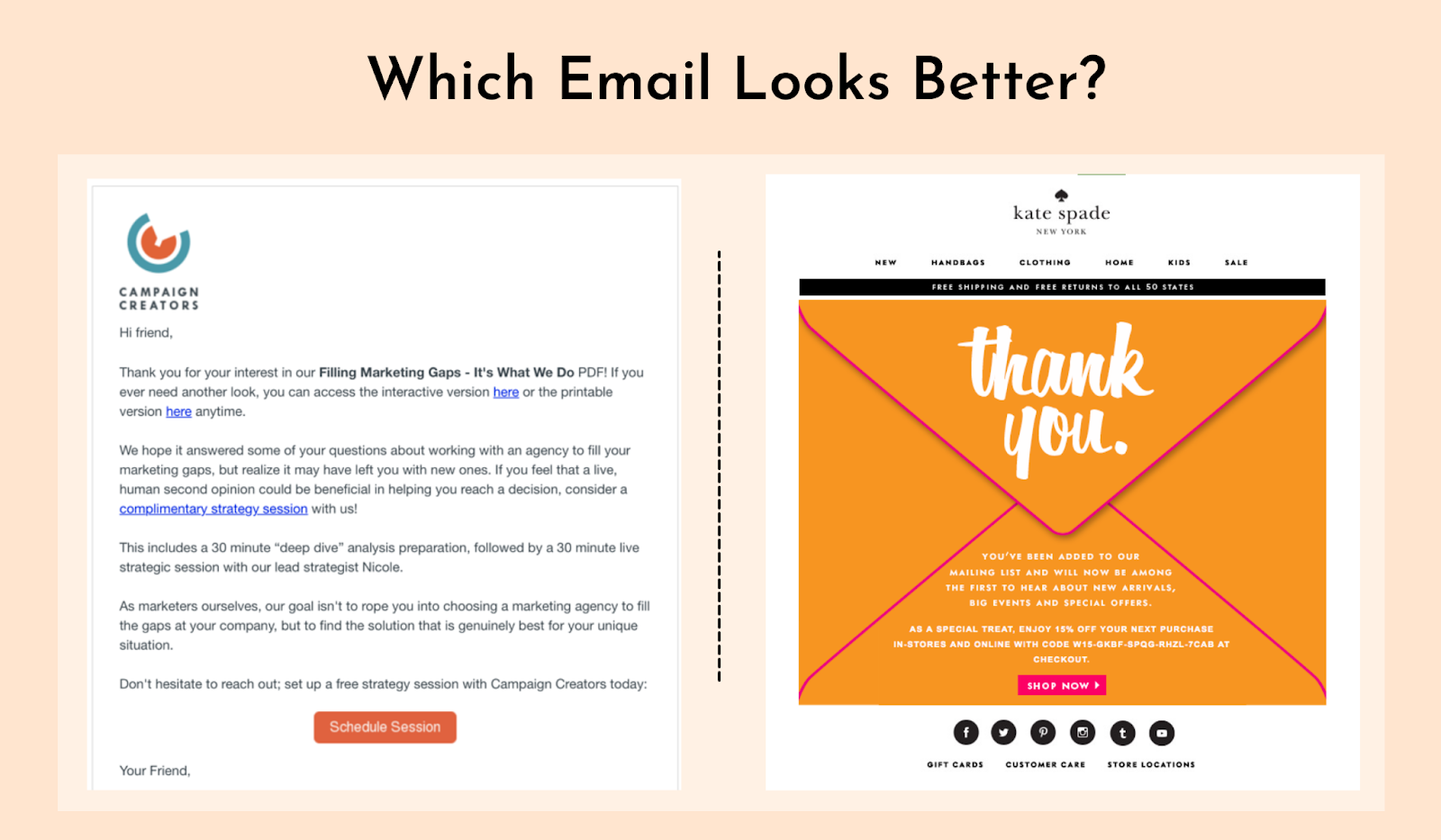 Email design with and without banners