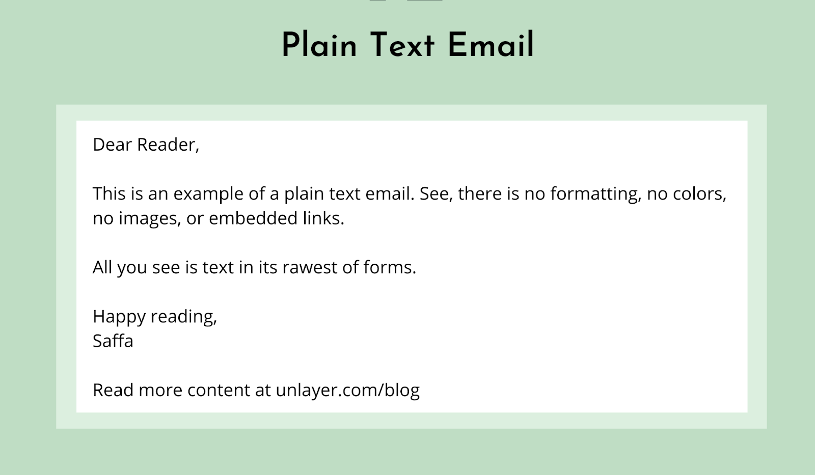 What does a Plain Text Email look like