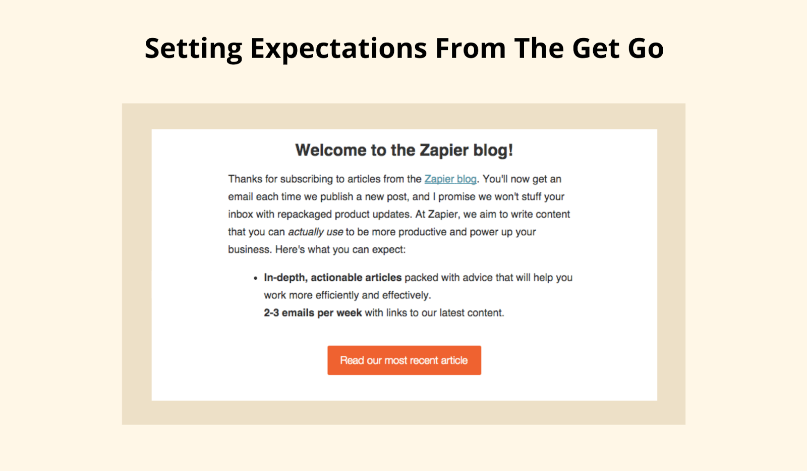 Example of Zapier setting expectations with their email subscribers from the start.