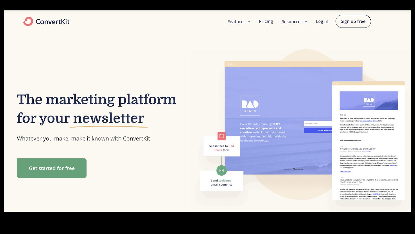 ConvertKit webpage