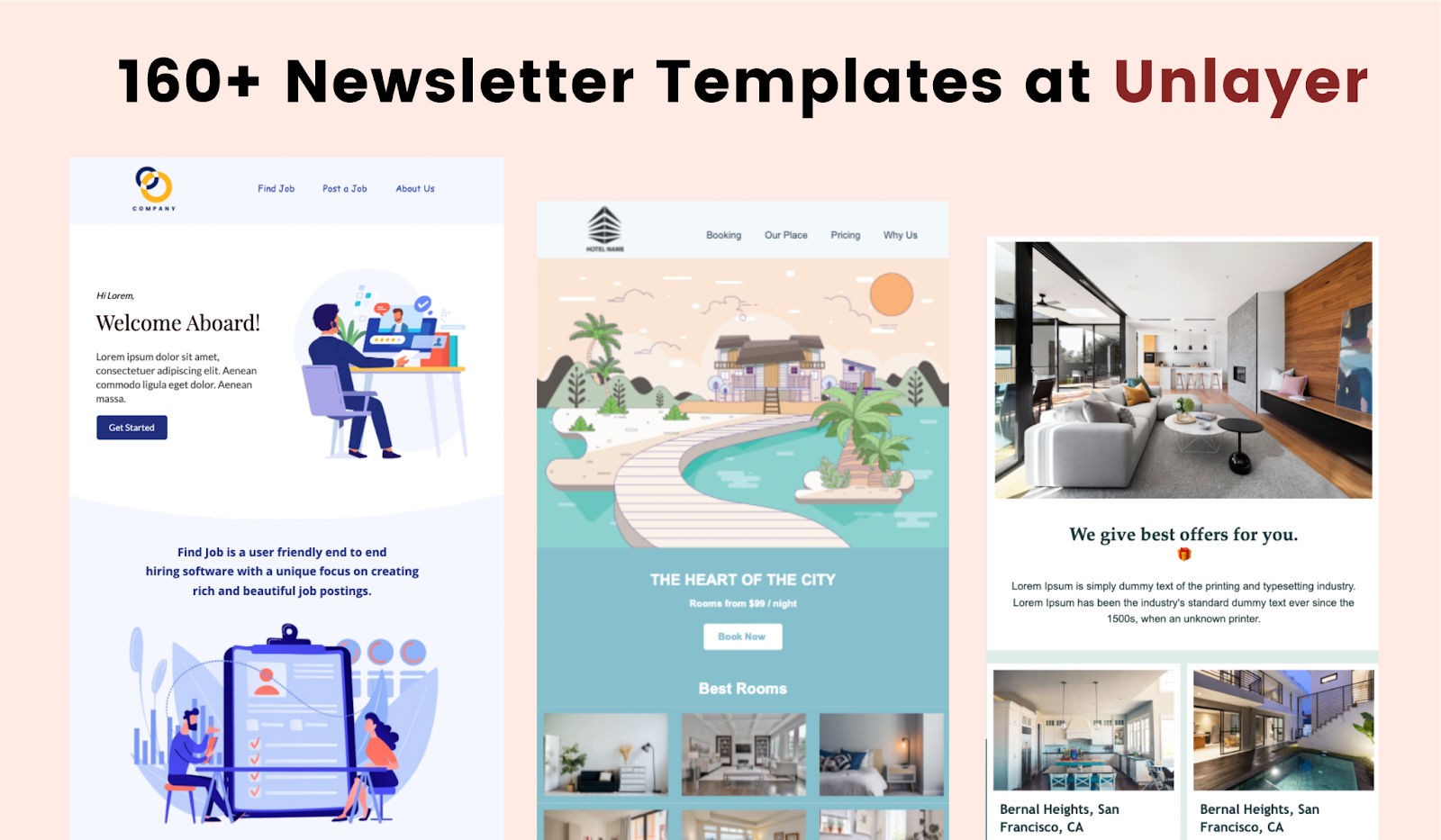 More than 160 newsletter templates at Unlayer