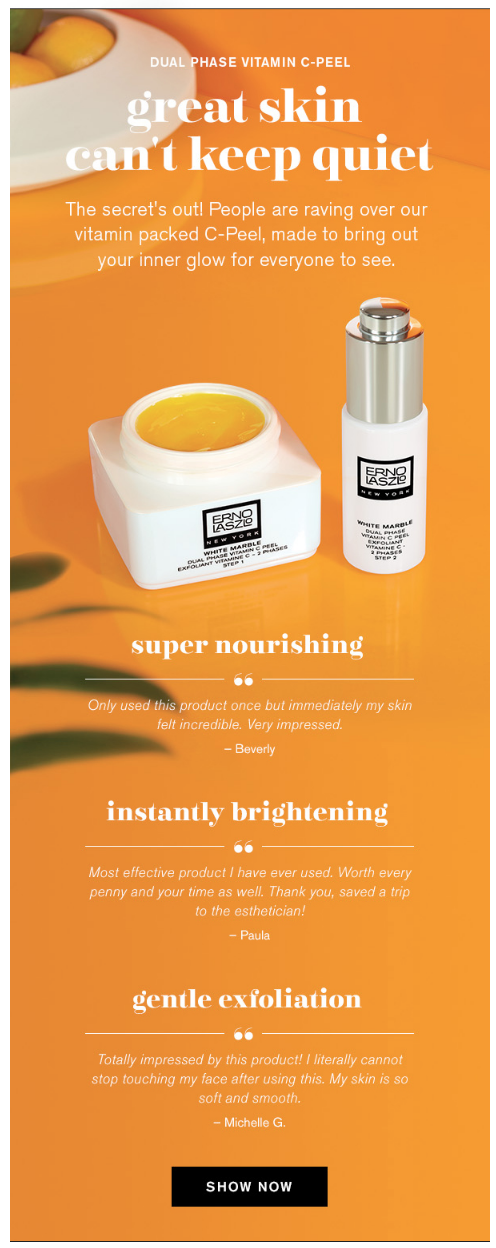 Newsletter example from Erno Laszlo