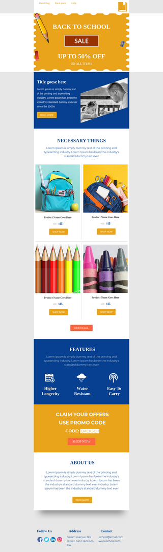 Back to School Bag Sale