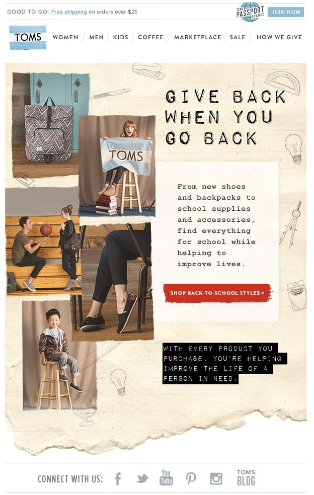 Email example from TOMS