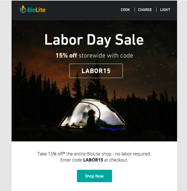 Email example from Bio Lite