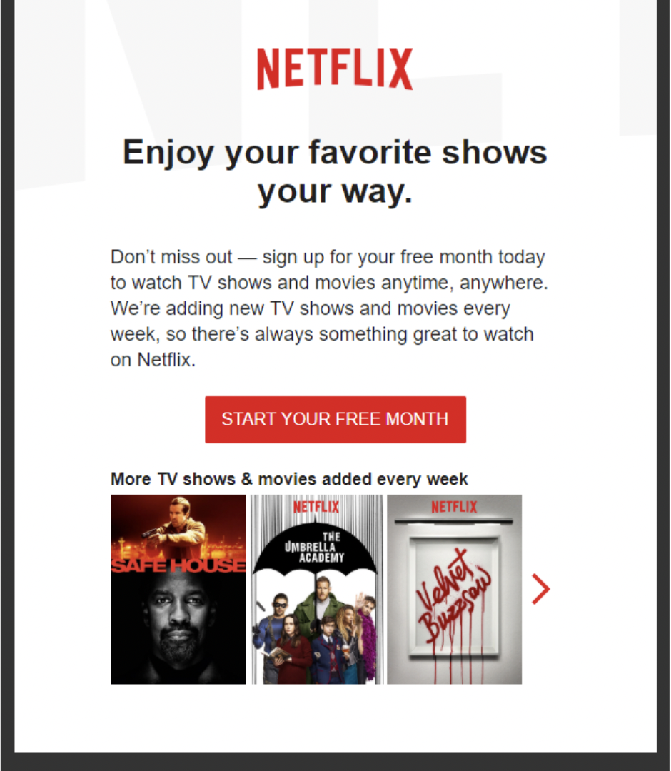 Free trial follow up email from Netflix