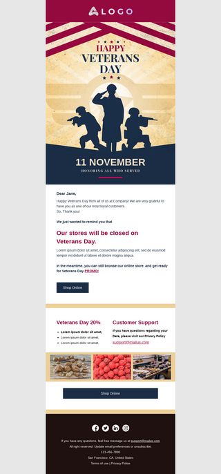 Veterans Day Holiday Announcement