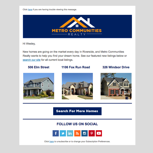 Example of drip email from Metro Communications