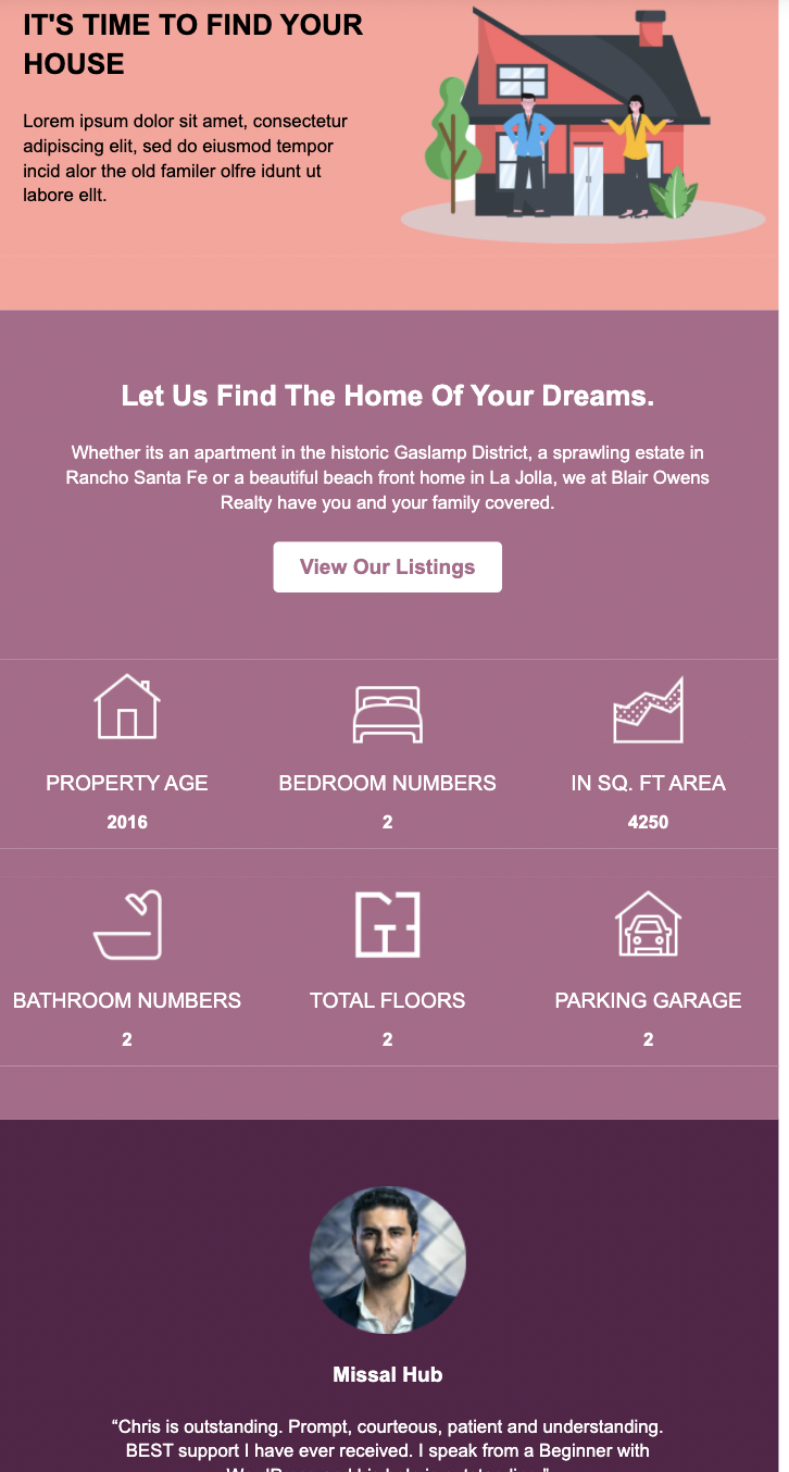 Template sample for real estate email marketing.