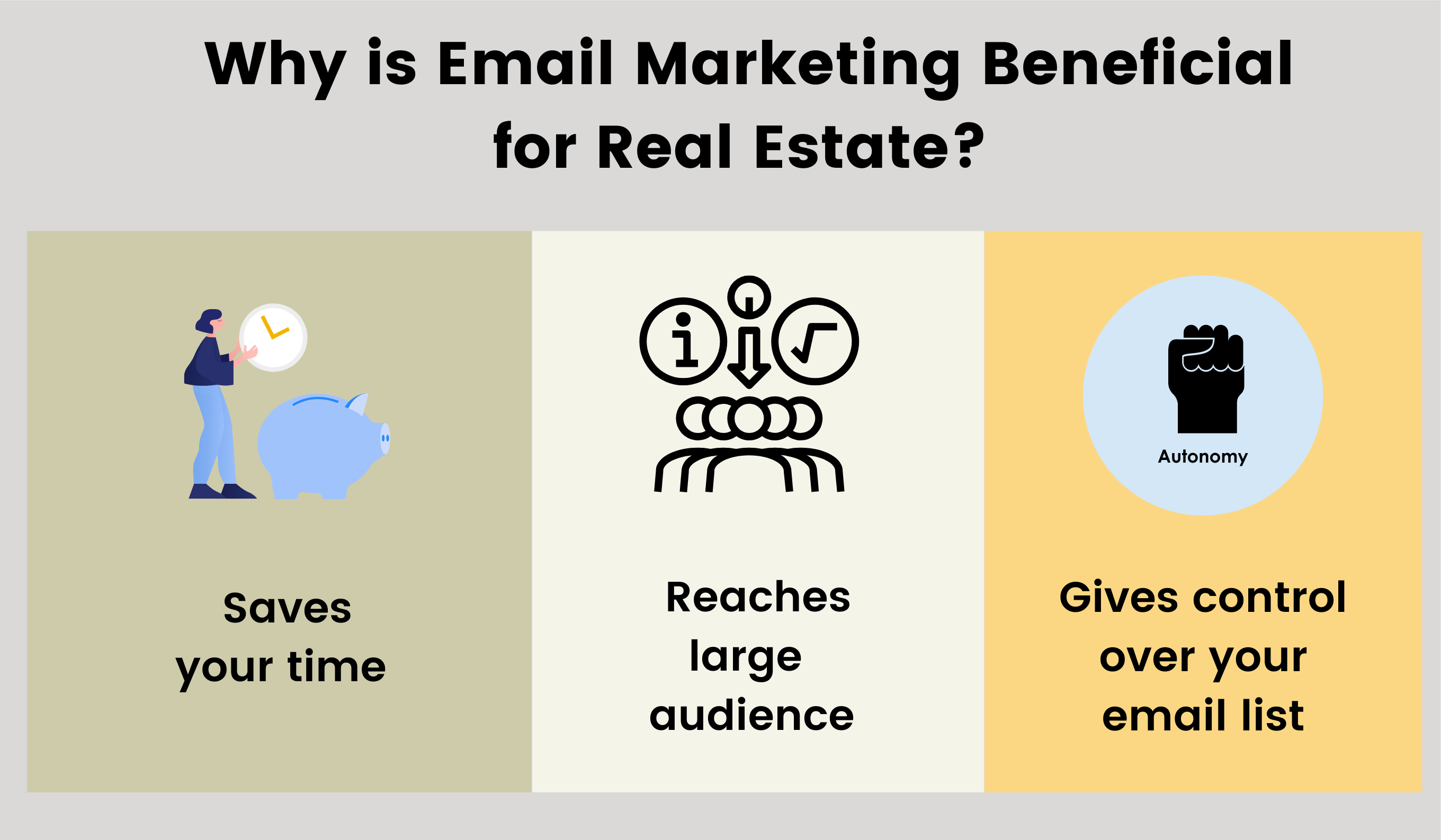 Three reasons why email marketing for real estate is beneficial.