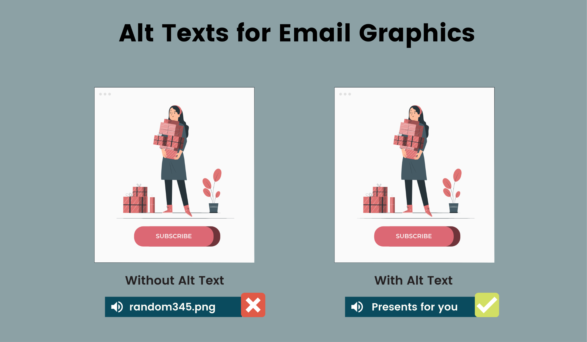 Email graphics must include alt texts