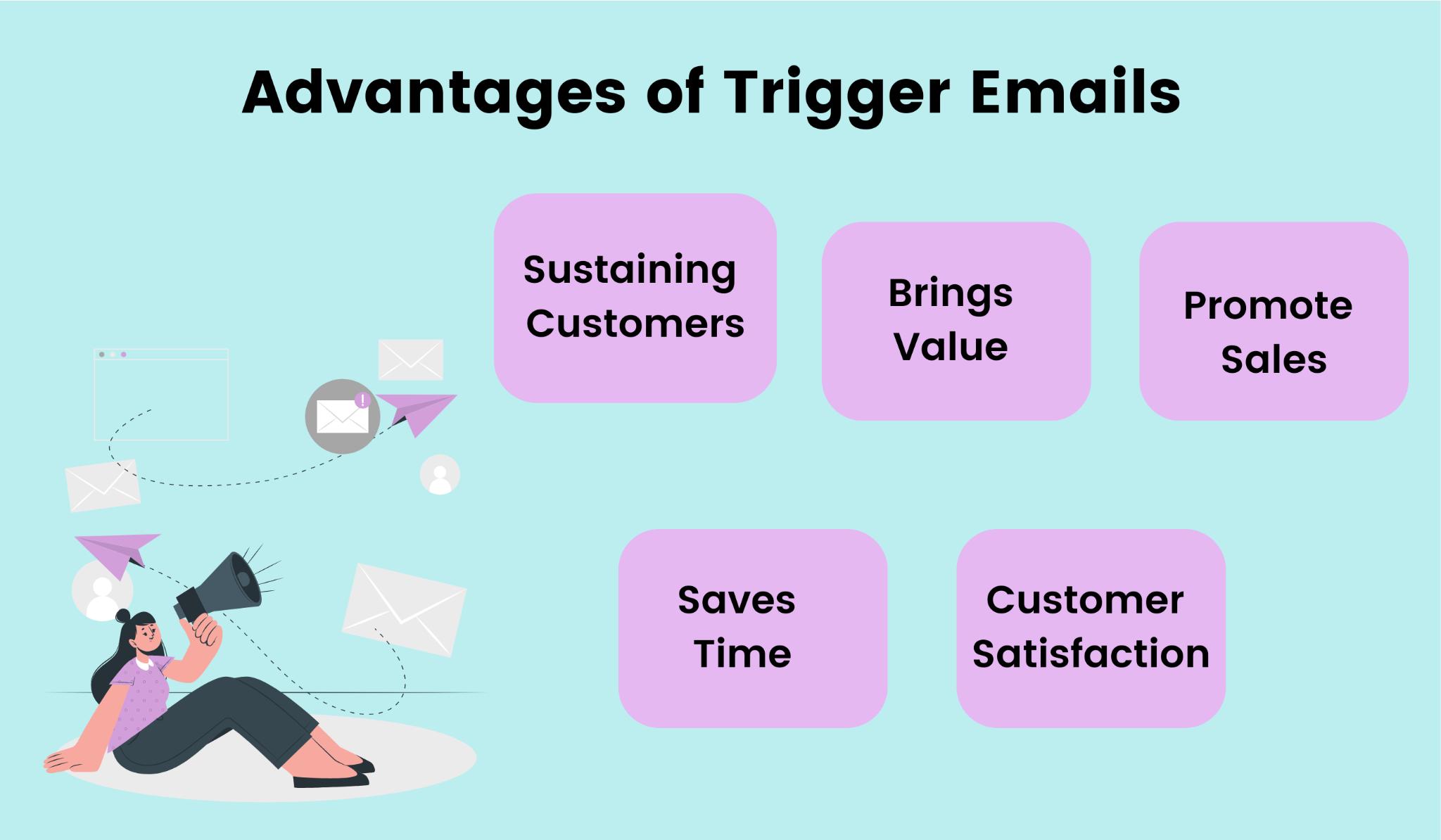 Different advantages of trigger emails.