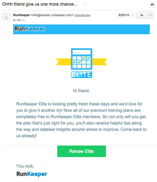 Unsubscription email example