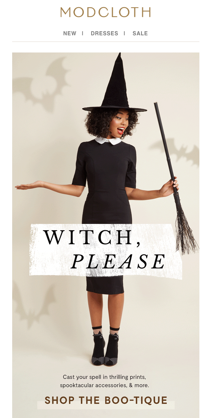 Halloween email example from ModCloth