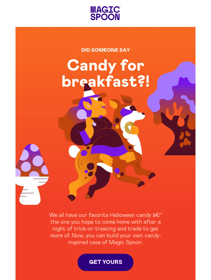 Halloween email example from Magic Soon